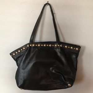 Vintage Gucci black leather tote